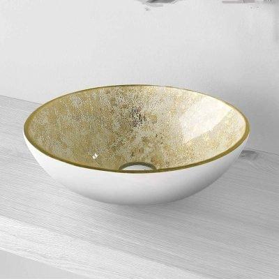 Lavabo vetro Bianco oro